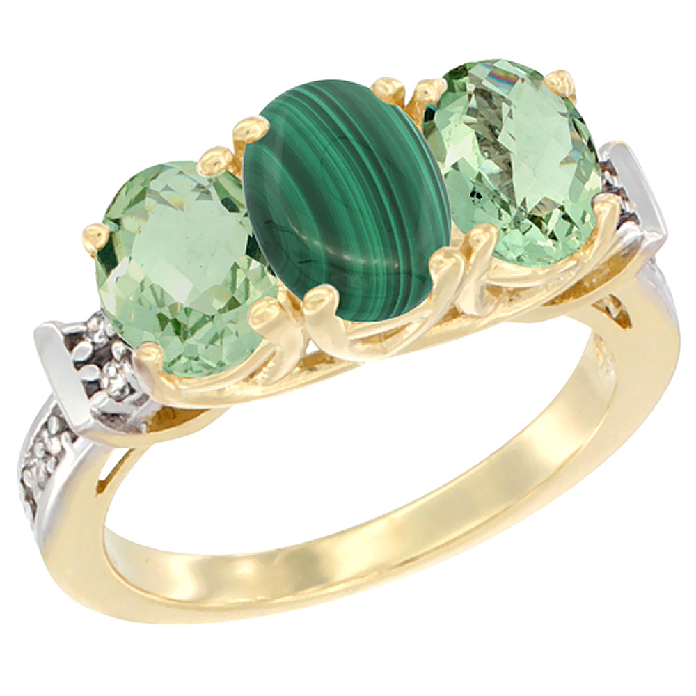 10K Yellow Gold Natural Malachite & Green Amethyst Sides Ring 3-Stone Oval Diamond Accent, sizes 5 - 10