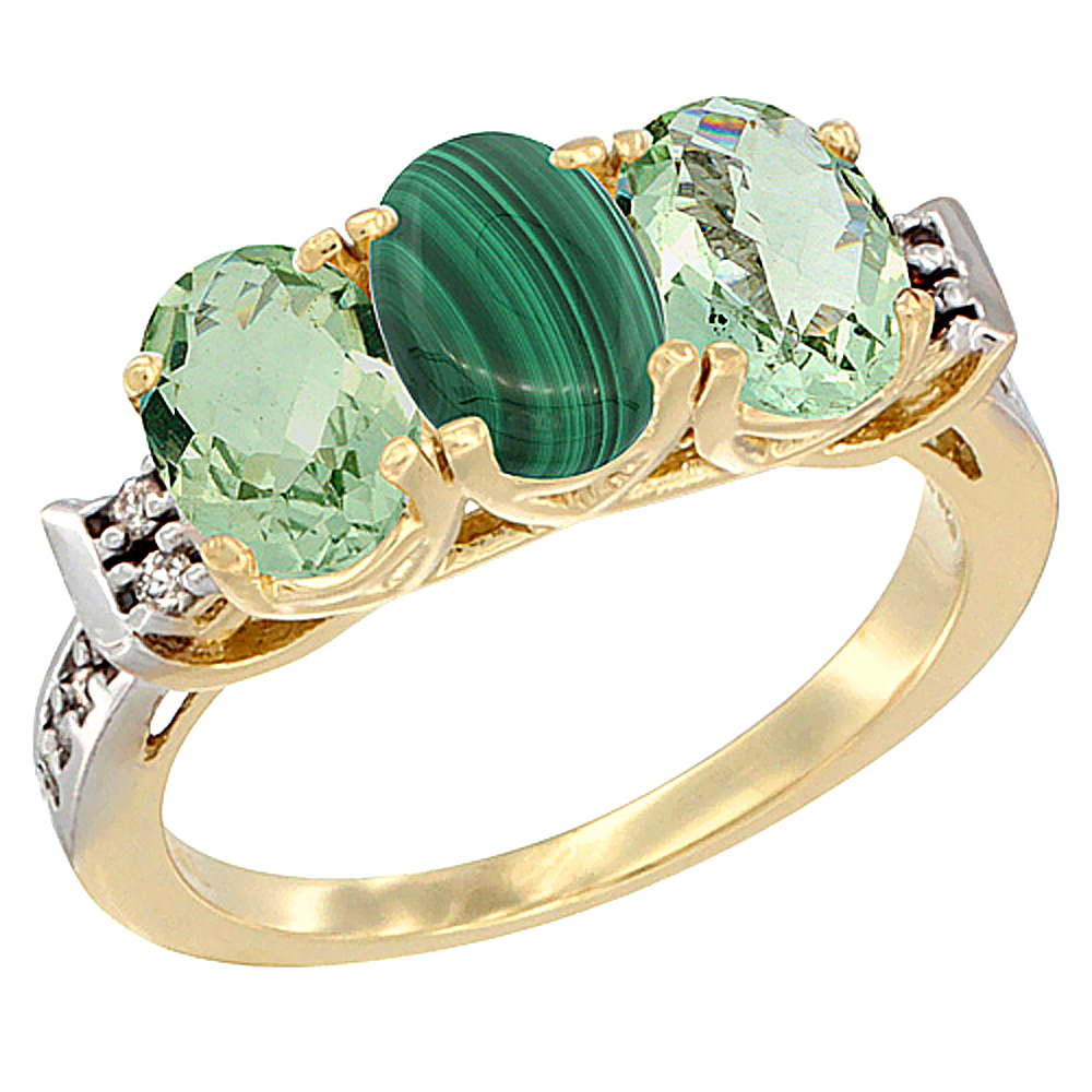 10K Yellow Gold Natural Malachite & Green Amethyst Sides Ring 3-Stone Oval 7x5 mm Diamond Accent, sizes 5 - 10