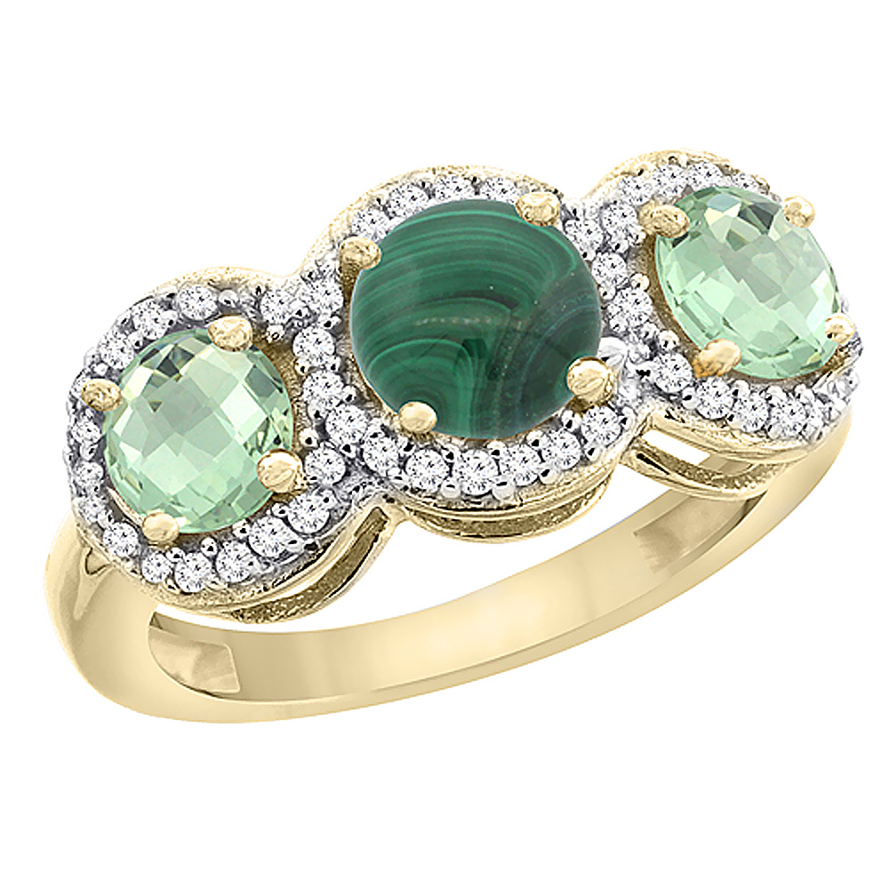 10K Yellow Gold Natural Malachite & Green Amethyst Sides Round 3-stone Ring Diamond Accents, sizes 5 - 10