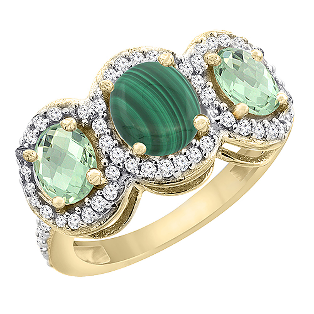 14K Yellow Gold Natural Malachite & Green Amethyst 3-Stone Ring Oval Diamond Accent, sizes 5 - 10