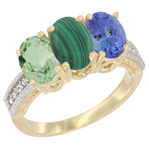 14K Yellow Gold Natural Green Amethyst, Malachite & Tanzanite Ring 3-Stone 7x5 mm Oval Diamond Accent, sizes 5 - 10
