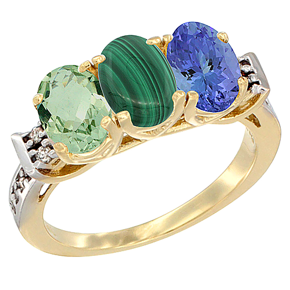 10K Yellow Gold Natural Green Amethyst, Malachite & Tanzanite Ring 3-Stone Oval 7x5 mm Diamond Accent, sizes 5 - 10