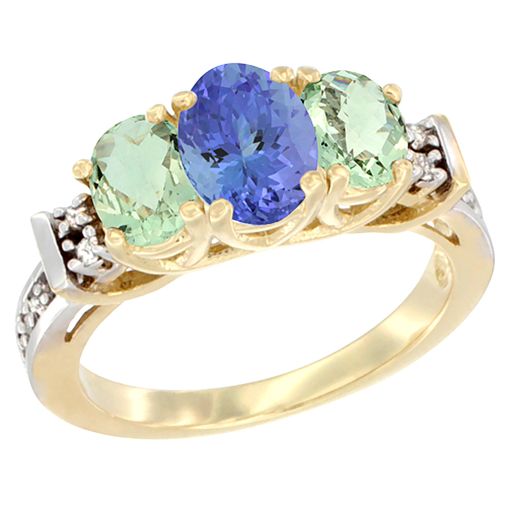 14K Yellow Gold Natural Tanzanite & Green Amethyst Ring 3-Stone Oval Diamond Accent