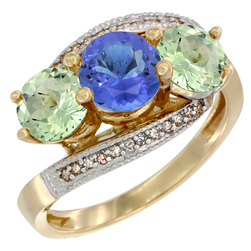 14K Yellow Gold Natural Tanzanite & Green Amethyst Sides 3 stone Ring Round 6mm Diamond Accent, sizes 5 - 10