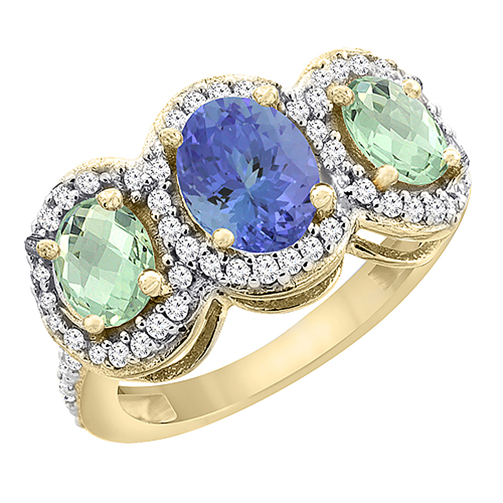 14K Yellow Gold Natural Tanzanite & Green Amethyst 3-Stone Ring Oval Diamond Accent, sizes 5 - 10