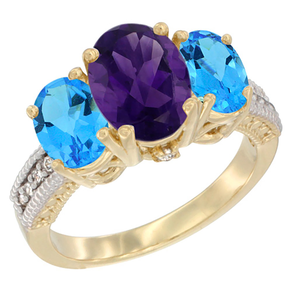 10K Yellow Gold Natural Amethyst Ring Ladies 3-Stone 8x6 Oval with Swiss Blue Topaz Sides Diamond Accent, sizes 5 - 10