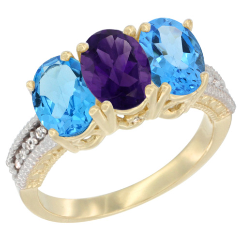 10K Yellow Gold Diamond Natural Amethyst & Swiss Blue Topaz Sides Ring 3-Stone Oval 7x5 mm, sizes 5 - 10