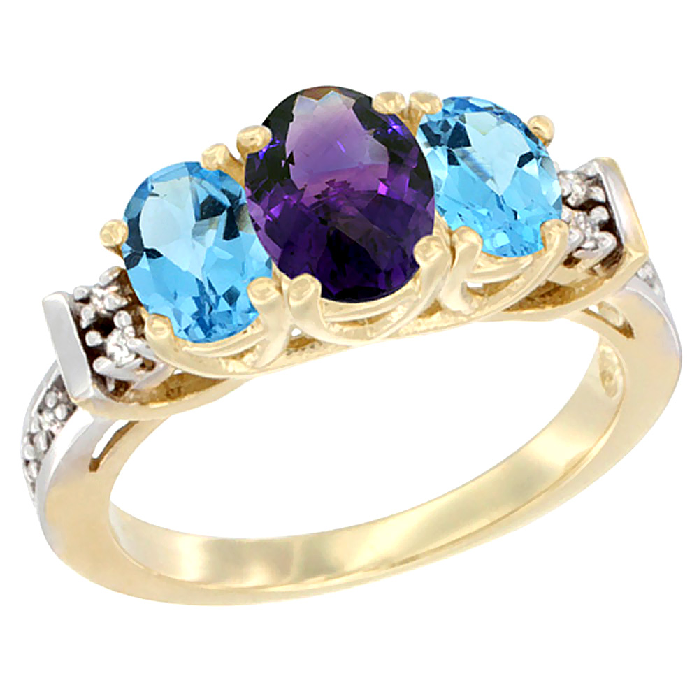 10K Yellow Gold Natural Amethyst & Swiss Blue Topaz Ring 3-Stone Oval Diamond Accent
