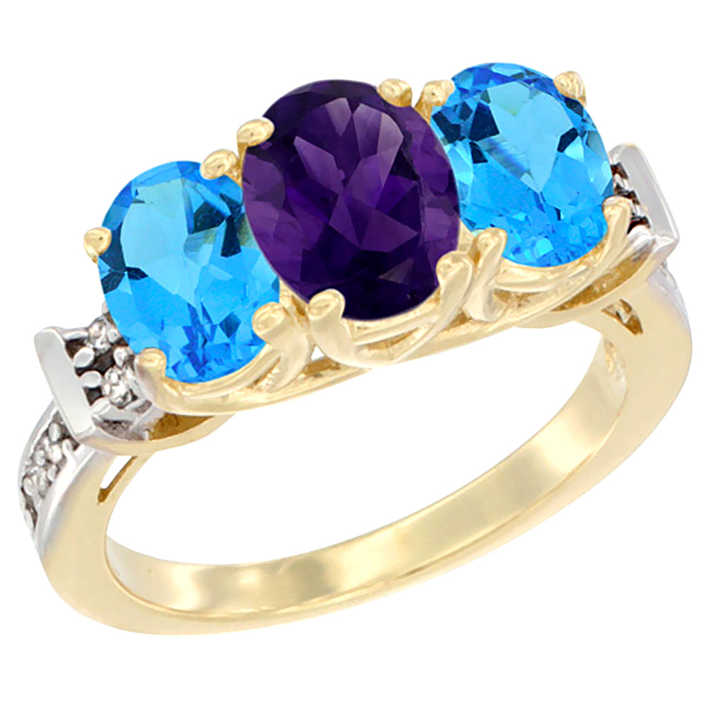 10K Yellow Gold Natural Amethyst & Swiss Blue Topaz Sides Ring 3-Stone Oval Diamond Accent, sizes 5 - 10