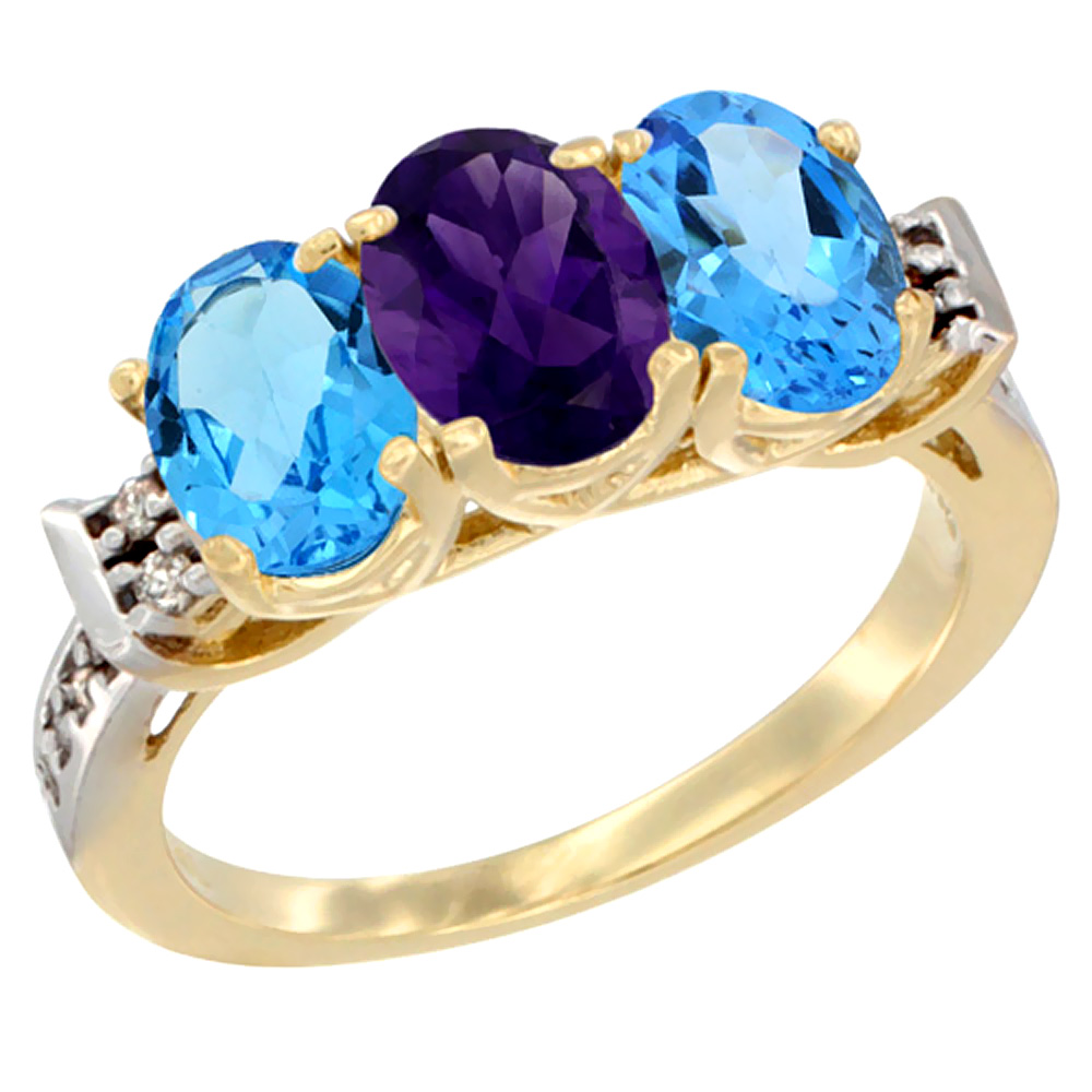 10K Yellow Gold Natural Amethyst & Swiss Blue Topaz Sides Ring 3-Stone Oval 7x5 mm Diamond Accent, sizes 5 - 10