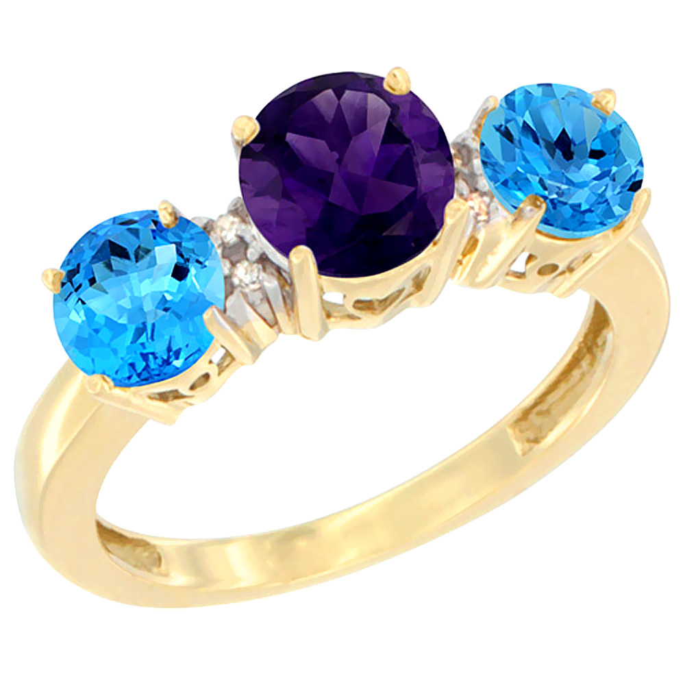 10K Yellow Gold Round 3-Stone Natural Amethyst Ring & Swiss Blue Topaz Sides Diamond Accent, sizes 5 - 10
