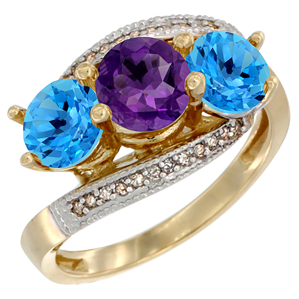 10K Yellow Gold Natural Amethyst & Swiss Blue Topaz Sides 3 stone Ring Round 6mm Diamond Accent, sizes 5 - 10