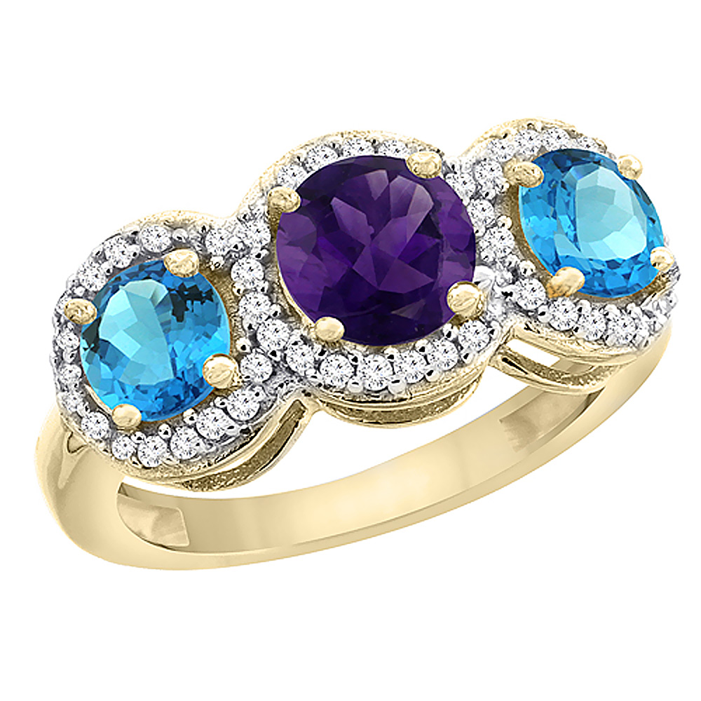 10K Yellow Gold Natural Amethyst & Swiss Blue Topaz Sides Round 3-stone Ring Diamond Accents, sizes 5 - 10