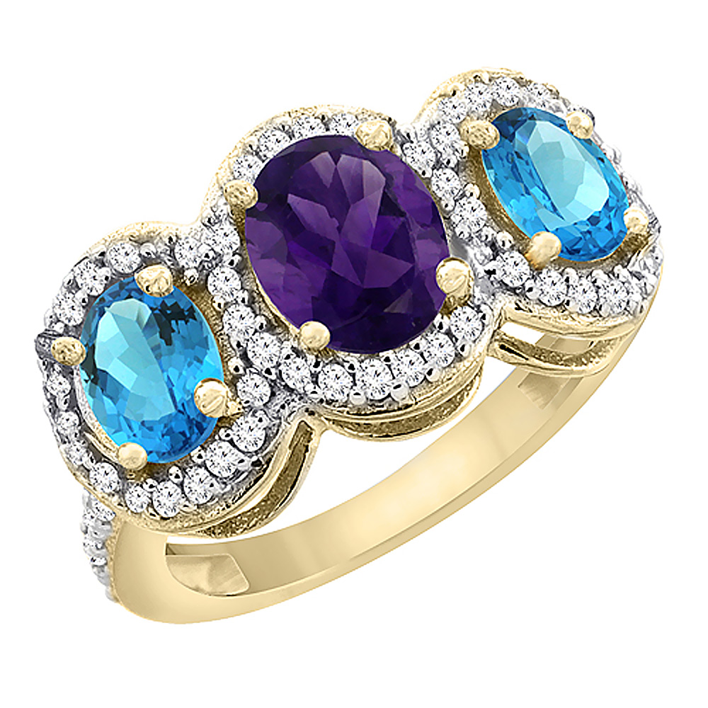 10K Yellow Gold Natural Amethyst & Swiss Blue Topaz 3-Stone Ring Oval Diamond Accent, sizes 5 - 10