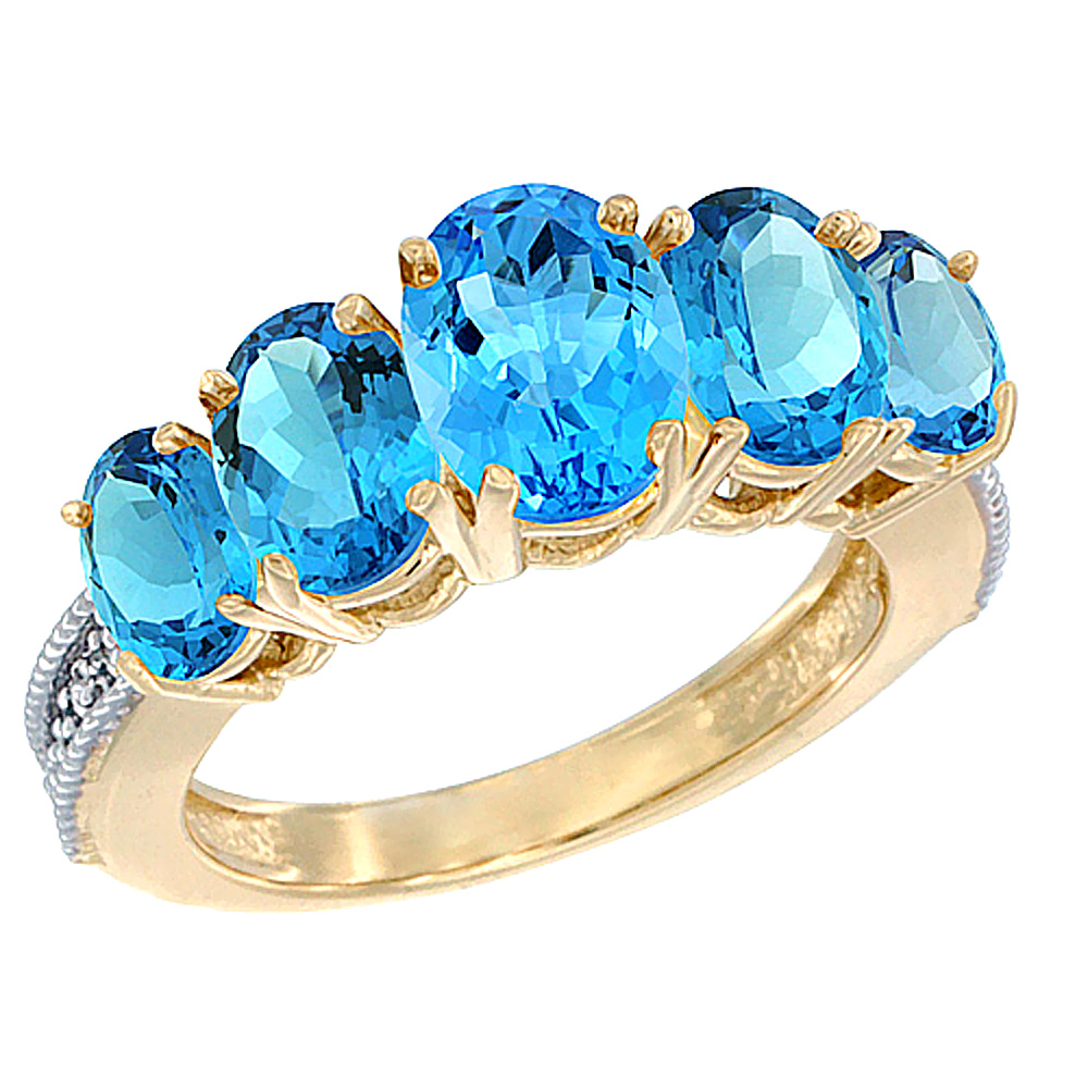 14K Yellow Gold Diamond Natural Swiss Blue Topaz Ring 5-stone Oval 8x6 Ctr,7x5,6x4 sides, sizes 5 - 10