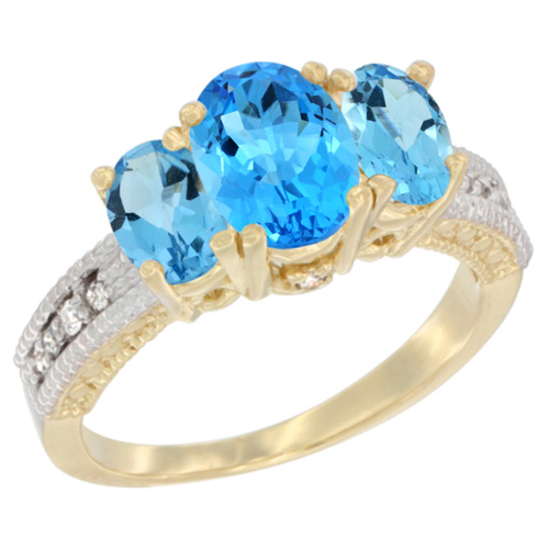 14K Yellow Gold Diamond Natural Swiss Blue Topaz Ring Oval 3-stone, sizes 5 - 10