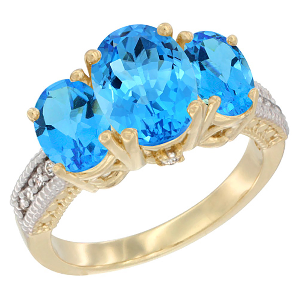 14K Yellow Gold Diamond Natural Swiss Blue Topaz Ring 3-Stone Oval 8x6mm, sizes5-10