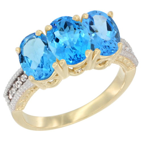 14K Yellow Gold Natural Swiss Blue Topaz Ring 3-Stone 7x5 mm Oval Diamond Accent, sizes 5 - 10