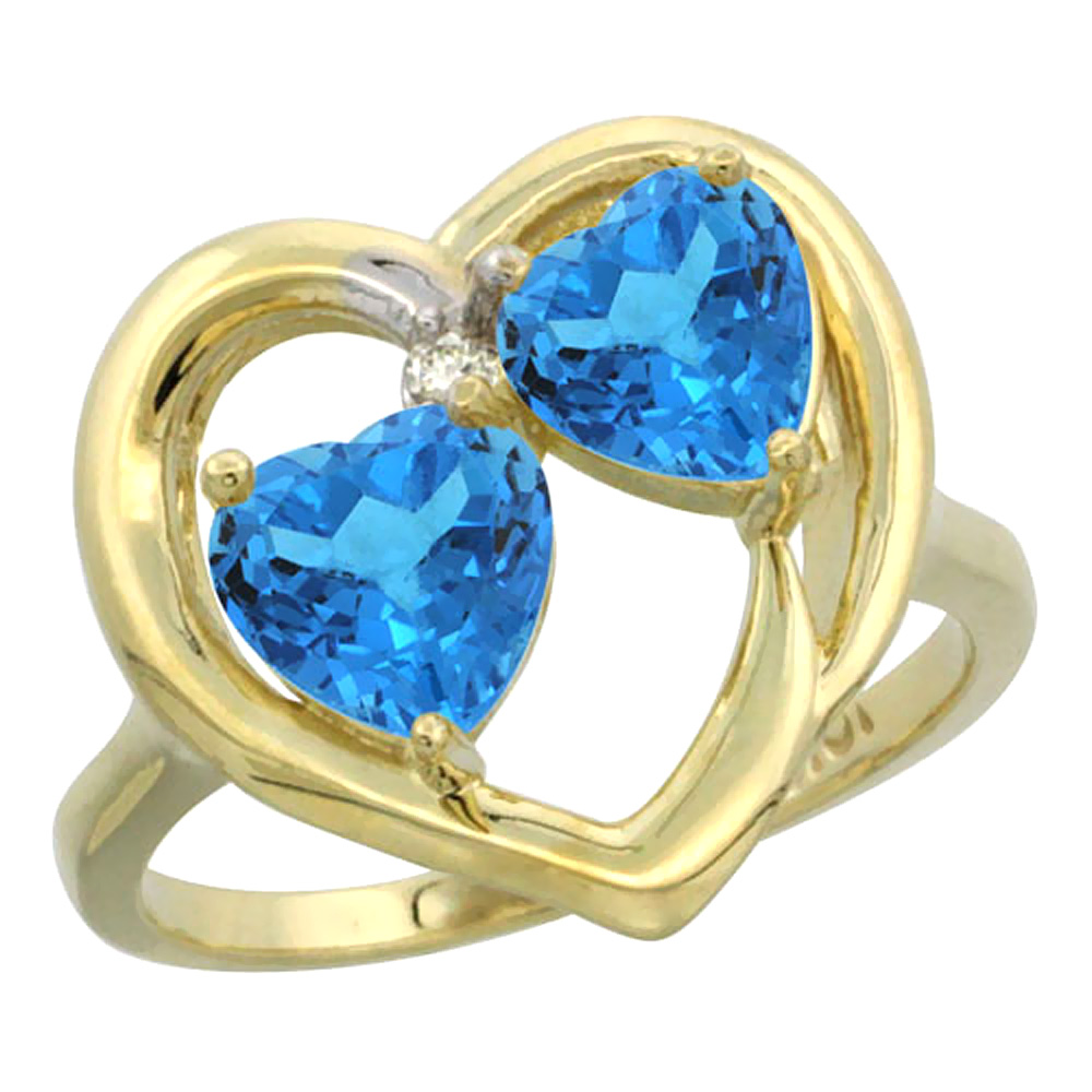 14K Yellow Gold Diamond Two-stone Heart Ring 6mm Natural Swiss Blue Topaz, sizes 5-10