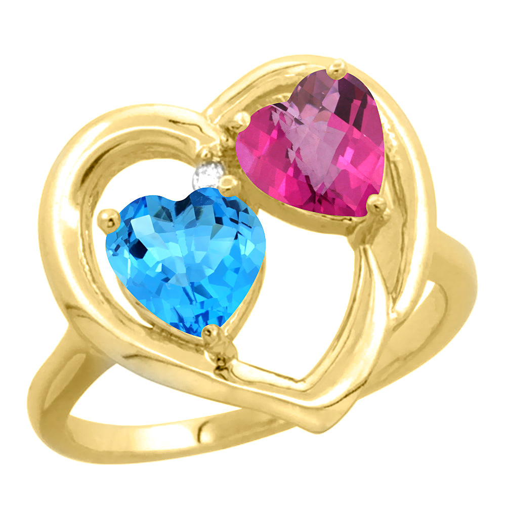 14K Yellow Gold Diamond Two-stone Heart Ring 6mm Natural Swiss Blue & Pink Topaz, sizes 5-10