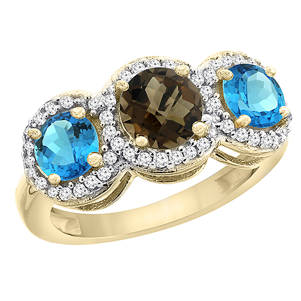 10K Yellow Gold Natural Smoky Topaz & Swiss Blue Topaz Sides Round 3-stone Ring Diamond Accents, sizes 5 - 10
