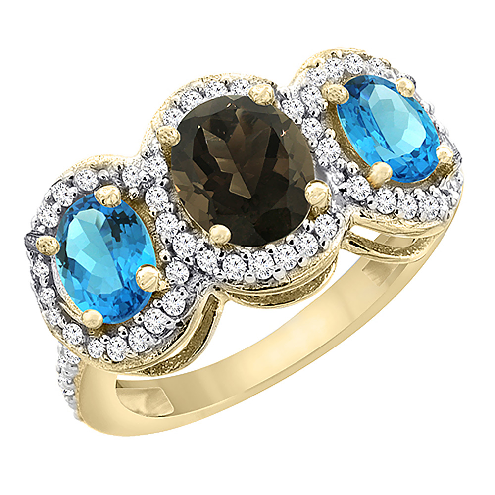 10K Yellow Gold Natural Smoky Topaz & Swiss Blue Topaz 3-Stone Ring Oval Diamond Accent, sizes 5 - 10