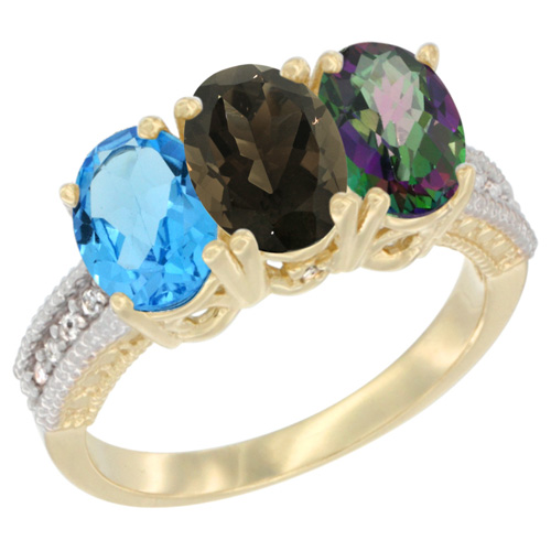 10K Yellow Gold Diamond Natural Swiss Blue Topaz, Smoky Topaz & Mystic Topaz Ring 3-Stone Oval 7x5 mm, sizes 5 - 10