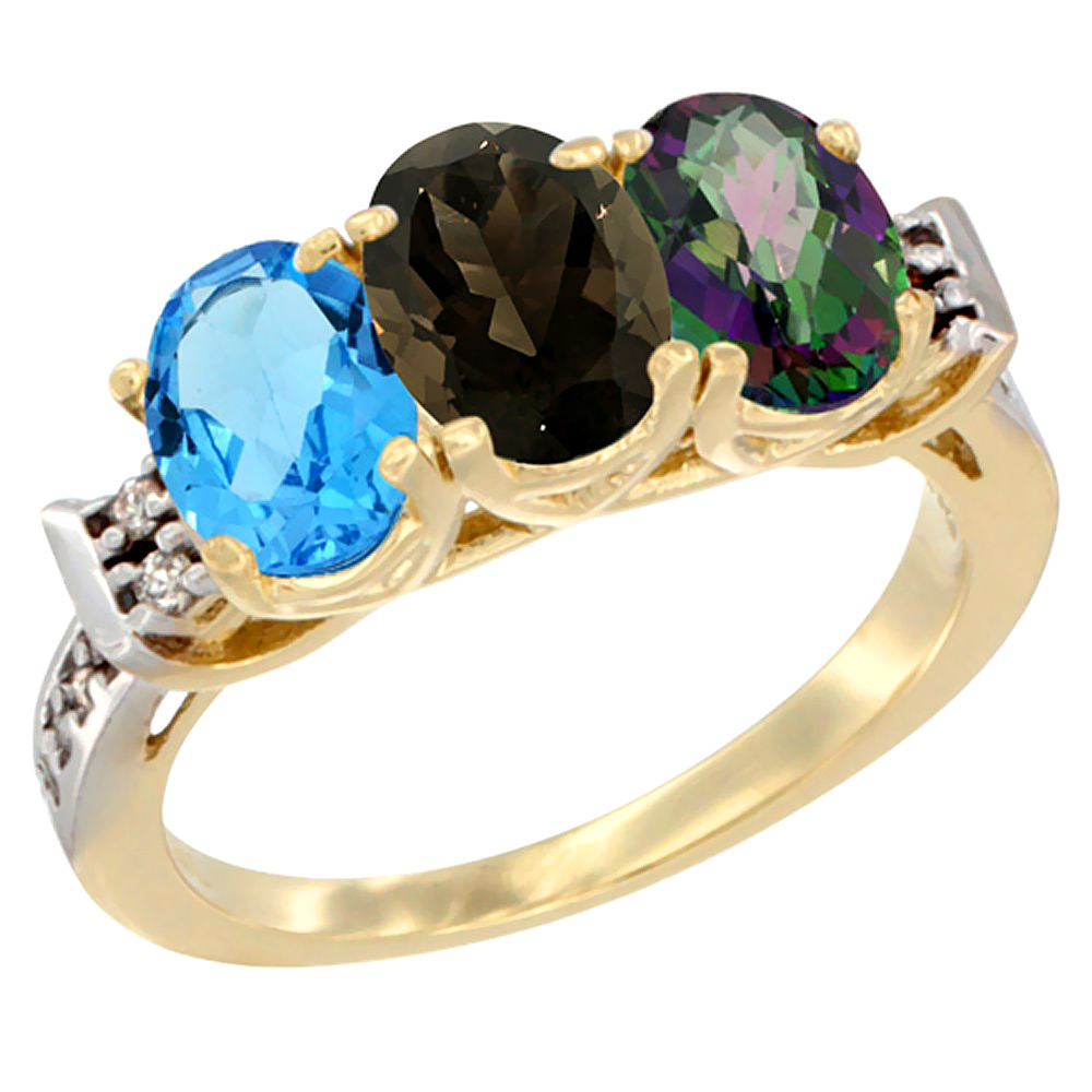 10K Yellow Gold Natural Swiss Blue Topaz, Smoky Topaz & Mystic Topaz Ring 3-Stone Oval 7x5 mm Diamond Accent, sizes 5 - 10