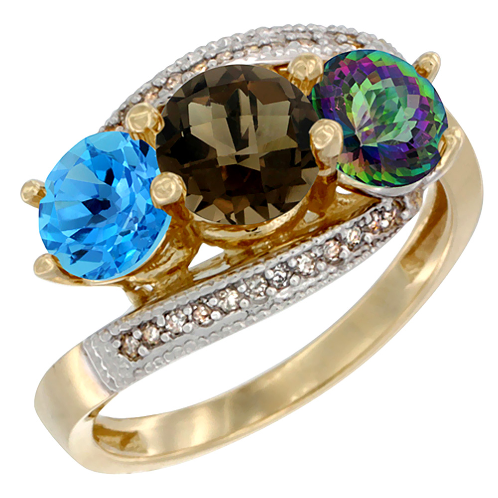 10K Yellow Gold Natural Swiss Blue Topaz, Smoky & Mystic Topaz 3 stone Ring Round 6mm Diamond Accent, sizes 5 - 10