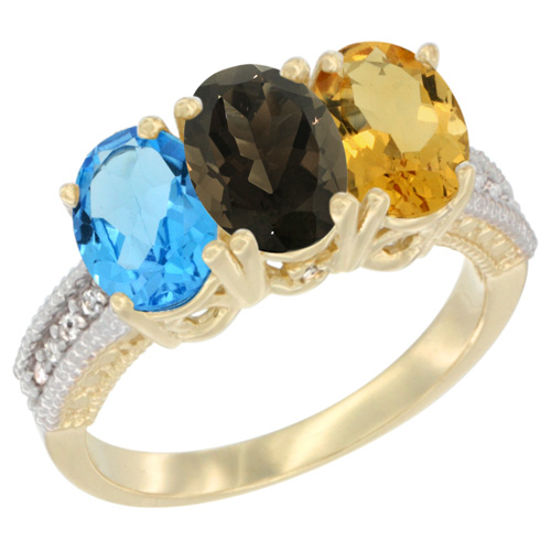 10K Yellow Gold Diamond Natural Swiss Blue Topaz, Smoky Topaz & Citrine Ring 3-Stone Oval 7x5 mm, sizes 5 - 10