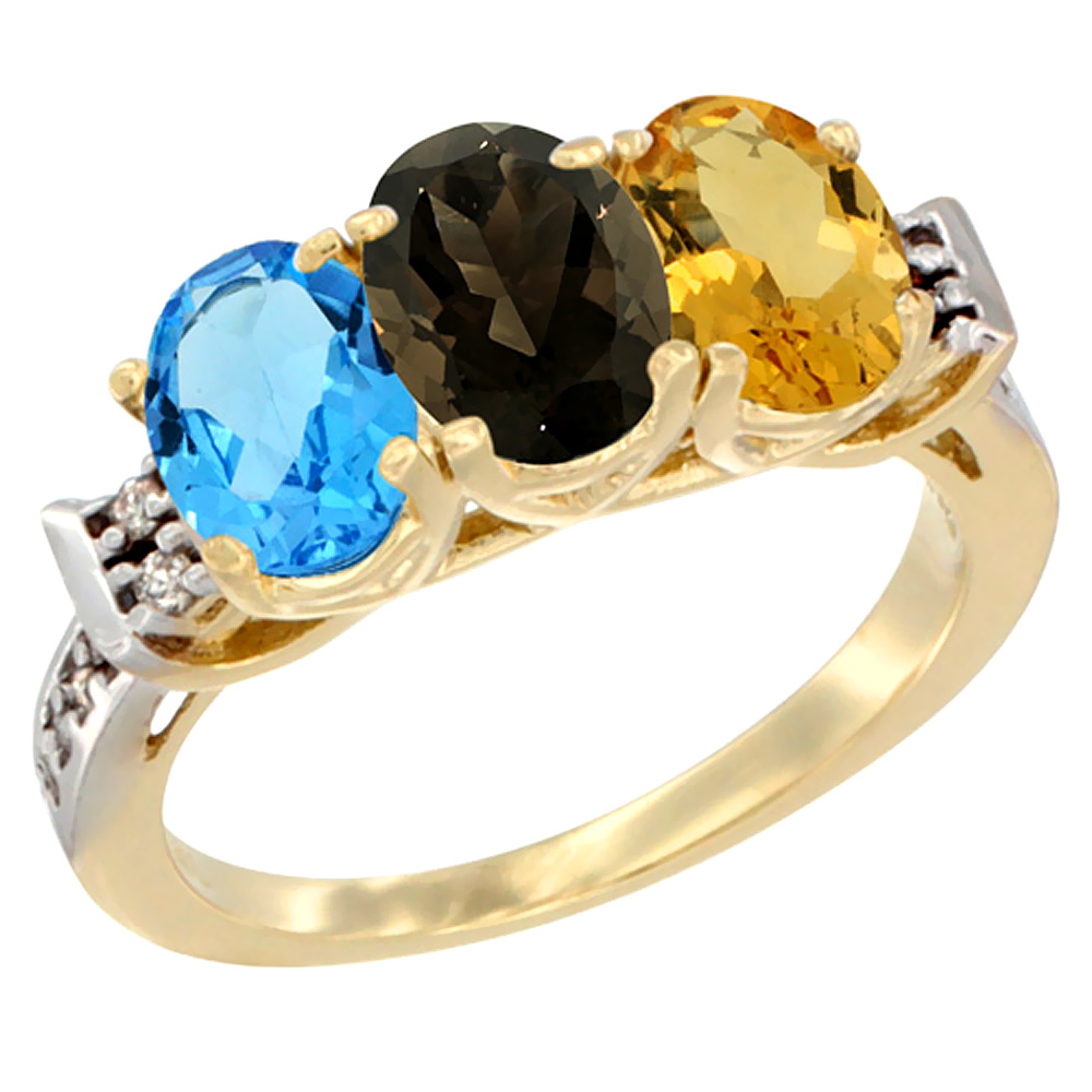 10K Yellow Gold Natural Swiss Blue Topaz, Smoky Topaz & Citrine Ring 3-Stone Oval 7x5 mm Diamond Accent, sizes 5 - 10