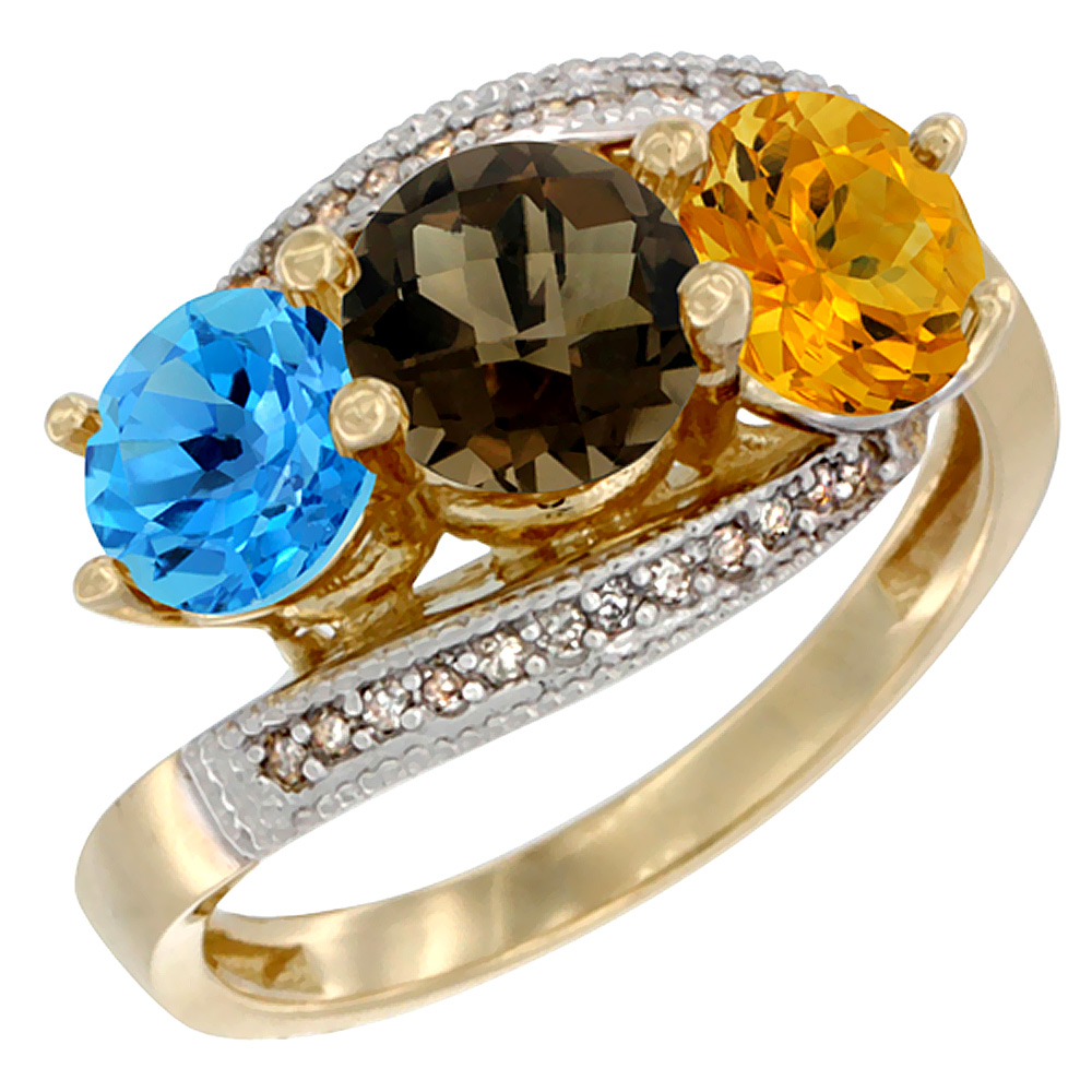 10K Yellow Gold Natural Swiss Blue Topaz, Smoky Topaz & Citrine 3 stone Ring Round 6mm Diamond Accent, sizes 5 - 10