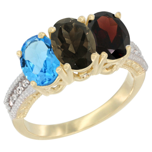 10K Yellow Gold Diamond Natural Swiss Blue Topaz, Smoky Topaz & Garnet Ring 3-Stone Oval 7x5 mm, sizes 5 - 10