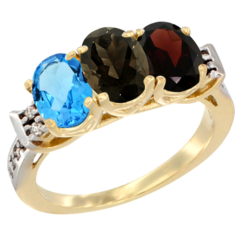 10K Yellow Gold Natural Swiss Blue Topaz, Smoky Topaz & Garnet Ring 3-Stone Oval 7x5 mm Diamond Accent, sizes 5 - 10