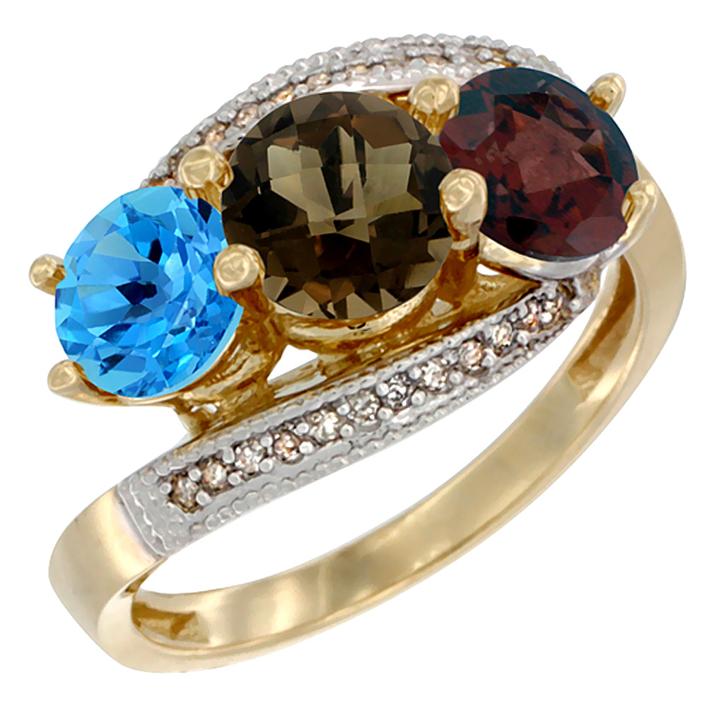 10K Yellow Gold Natural Swiss Blue Topaz, Smoky Topaz & Garnet 3 stone Ring Round 6mm Diamond Accent, sizes 5 - 10