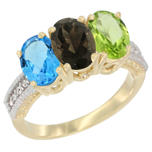 10K Yellow Gold Diamond Natural Swiss Blue Topaz, Smoky Topaz & Peridot Ring 3-Stone Oval 7x5 mm, sizes 5 - 10