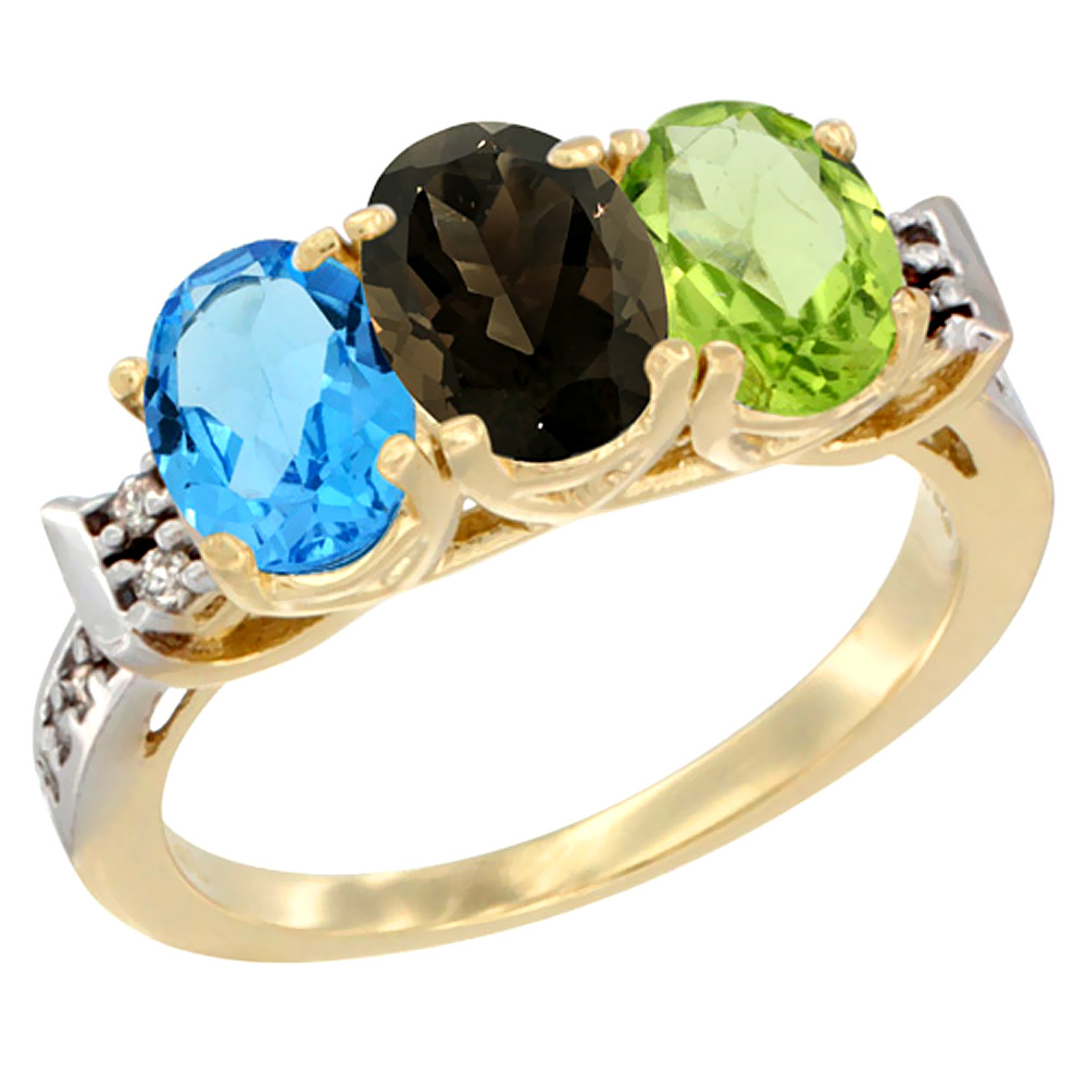 10K Yellow Gold Natural Swiss Blue Topaz, Smoky Topaz & Peridot Ring 3-Stone Oval 7x5 mm Diamond Accent, sizes 5 - 10