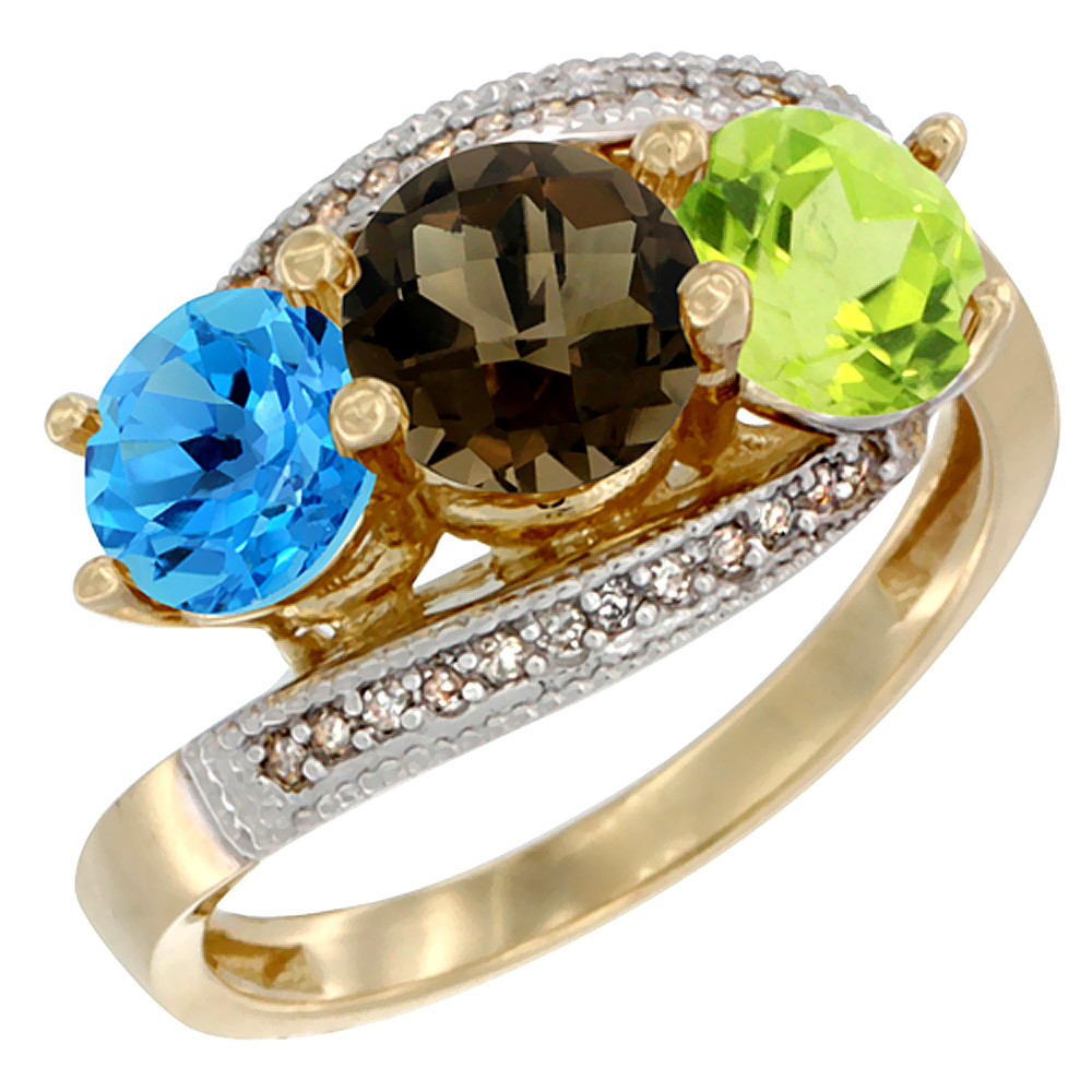 10K Yellow Gold Natural Swiss Blue Topaz, Smoky Topaz & Peridot 3 stone Ring Round 6mm Diamond Accent, sizes 5 - 10