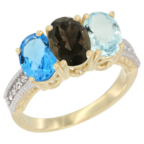10K Yellow Gold Diamond Natural Swiss Blue Topaz, Smoky Topaz & Aquamarine Ring 3-Stone Oval 7x5 mm, sizes 5 - 10
