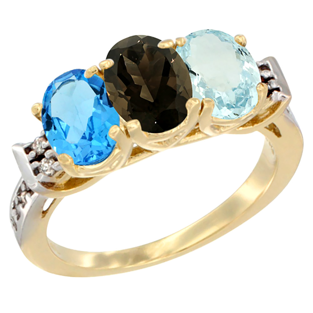 10K Yellow Gold Natural Swiss Blue Topaz, Smoky Topaz & Aquamarine Ring 3-Stone Oval 7x5 mm Diamond Accent, sizes 5 - 10