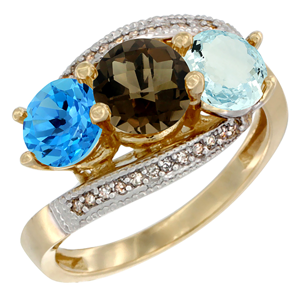 10K Yellow Gold Natural Swiss Blue Topaz, Smoky Topaz & Aquamarine 3 stone Ring Round 6mm Diamond Accent, sizes 5 - 10
