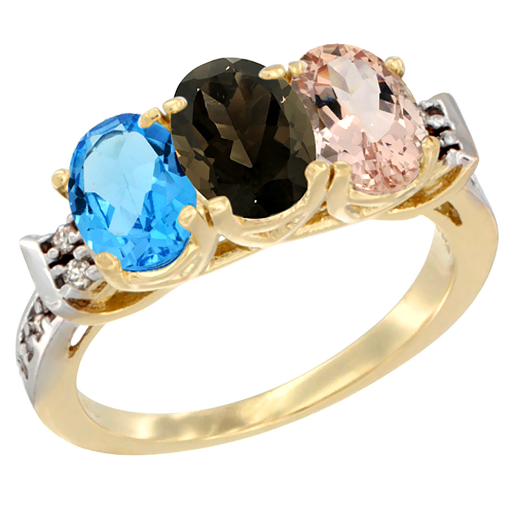 10K Yellow Gold Natural Swiss Blue Topaz, Smoky Topaz & Morganite Ring 3-Stone Oval 7x5 mm Diamond Accent, sizes 5 - 10