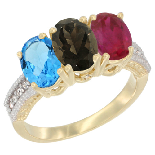 10K Yellow Gold Diamond Natural Swiss Blue Topaz, Smoky Topaz & Enhanced Ruby Ring 3-Stone Oval 7x5 mm, sizes 5 - 10