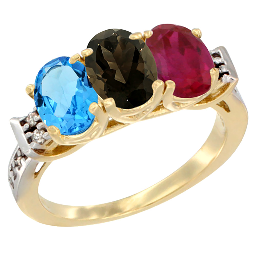 10K Yellow Gold Natural Swiss Blue Topaz, Smoky Topaz & Enhanced Ruby Ring 3-Stone Oval 7x5 mm Diamond Accent, sizes 5 - 10
