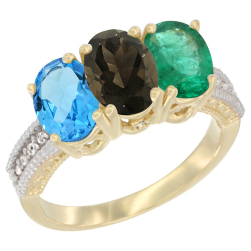 10K Yellow Gold Diamond Natural Swiss Blue Topaz, Smoky Topaz & Emerald Ring 3-Stone Oval 7x5 mm, sizes 5 - 10