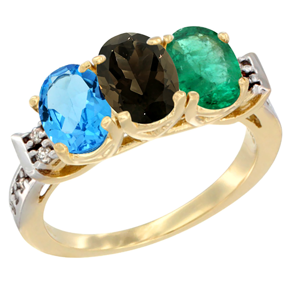 10K Yellow Gold Natural Swiss Blue Topaz, Smoky Topaz & Emerald Ring 3-Stone Oval 7x5 mm Diamond Accent, sizes 5 - 10
