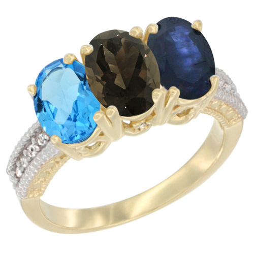 10K Yellow Gold Diamond Natural Swiss Blue Topaz, Smoky Topaz & Blue Sapphire Ring 3-Stone Oval 7x5 mm, sizes 5 - 10