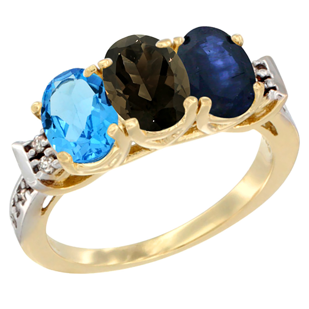 10K Yellow Gold Natural Swiss Blue Topaz, Smoky Topaz & Blue Sapphire Ring 3-Stone Oval 7x5 mm Diamond Accent, sizes 5 - 10