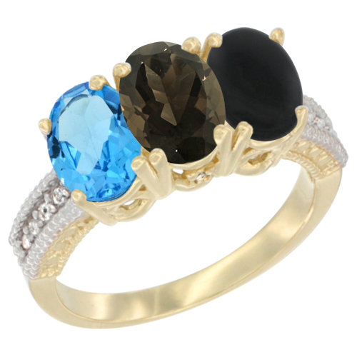 10K Yellow Gold Diamond Natural Swiss Blue Topaz, Smoky Topaz & Black Onyx Ring 3-Stone Oval 7x5 mm, sizes 5 - 10
