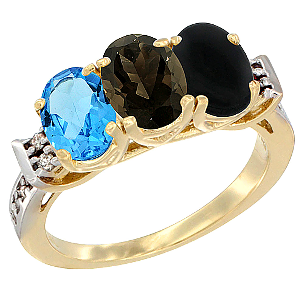 10K Yellow Gold Natural Swiss Blue Topaz, Smoky Topaz & Black Onyx Ring 3-Stone Oval 7x5 mm Diamond Accent, sizes 5 - 10